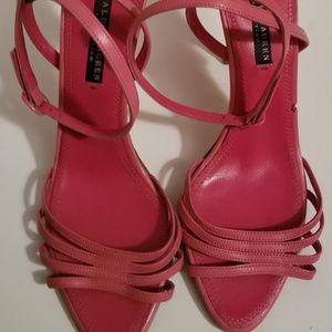 Ralph Lauren Collection Womens Pink Strappy Heels